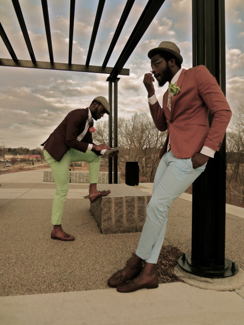 Pastel pants are a dapper dandy's prerogative. eddiesuave:  blackfashion:  follow me @ http://letsmakehistorymike.tumblr.com/  yasss
