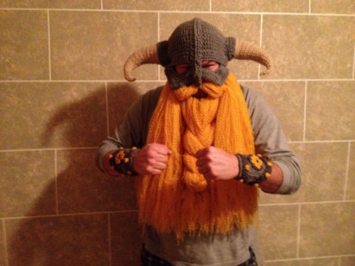 videogamenostalgia:  Skyrim-inspired crocheted helmet and bracers (complete with viking beard!)