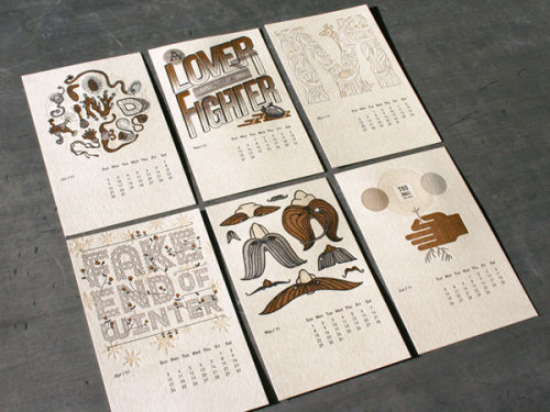 Letterpress Calendar Calendar print design with beautiful illustrations and typography by Studio On Fire. via: MAG.WE AND THE COLORFacebook // Twitter // Google+ // Pinterest
