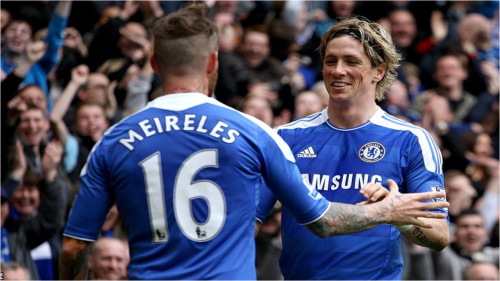 Meireles Celebrates his goal with Assist provide Torres