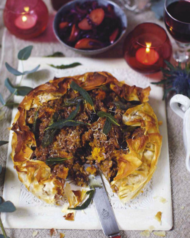 Roasted pumpkin and chestnut risotto tart