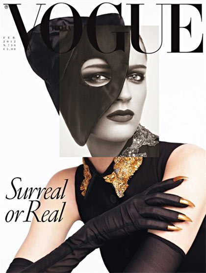 Fashion loves surrealism. asarabia:  Vogue Italia February 2012 Cover , Laura Kampman by Steven Meisel