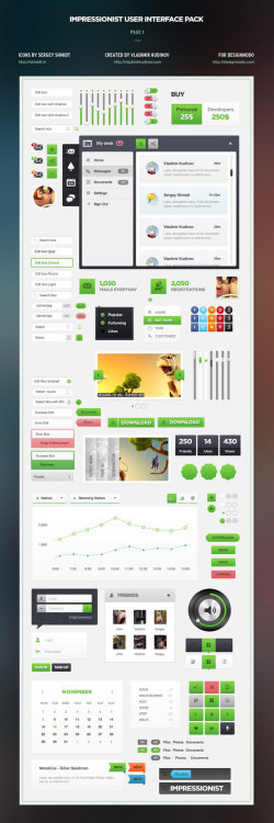 "weandthecolor:  The Amazing Impressionist UI Pack Designed by Vladimir Kudinov.  ""We have decided to chip in, because we are good at this and have designed a huge pack that contains over 300 elements for webdesign that represent almost anything one can imagine. The elements are so far distributed on 5 pages. You can find here: Edit Boxes, Tabs, Buttons, Notification Windows, Menus, fast solutions for the menu tabs, windows, backgrounds, graphics, sliders, informational blocks and many others. All the elements have been done in Photoshop using Shapes. This means that all the elements can be zoomed in or out without losing quality. All the elements from this pack are editable and available in PSD (fully layered), hence they can be easily integrated in any concept or design.""  Check out more information and images about the pack on Behance or buy the Impressionist user interface pack here. via: MAG.WE AND THE COLORFacebook // Twitter // Google+ // Pinterest"