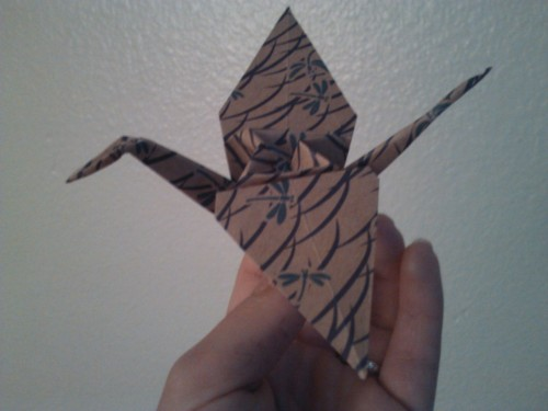 Ta Da! The very first paper crane. It isn't the best, it isn't the worst, but there it is. 1 down and only 999 more to go!! Haha, the paper I used was very kindly given to me by a church leader who actually inspired me to make this blog. I was asked to teach some of the young women how to make origami flowers. And let's just say that I am just as much an origami master as an origami teacher… I am definitely not an origami master!! ttfn- mckenna