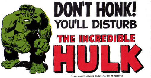 Merry Marvel Marching Society Hulk bumper sticker (1966)