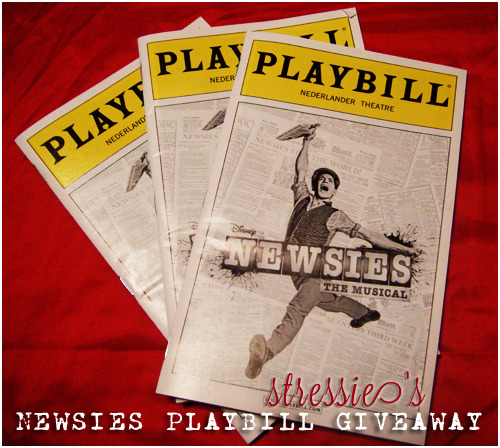 stressie:  Stressie's Newsies playbill giveaway ~ When I went and saw Newsies the Musical for its first preview on 03/15/12, I ended up coming home with four playbills — one that I got signed at the stagedoor and three that are unsigned.  Since I have the signed one to keep for my memorabilia collection, I thought I would offer the three extras if I thought there was anyone who was interested in them.  So I figured, in order to find out, that I would host my first giveaway! - You can reblog this post as many times as you'd like, and likes do count for this. - You don't have to be following me, but that's nice if you are. - I will use a random number generator to pick the three winners on April 1st — since I will use your ask box to contact the winners, please have it open.  - I will ship anywhere to the winners. Any questions, let me know :)
