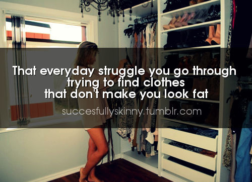 britt-will-be-fit:  california-skinny:  Truth… although now its a struggle more because said clothes are 2 sizes too big and I just look like I draped a tent over me lol  I wear all my shirts with a belt now. Belts work wonders. They make too big clothes actually look decent!! :P I can't wait to lose more and go shopping though. :)