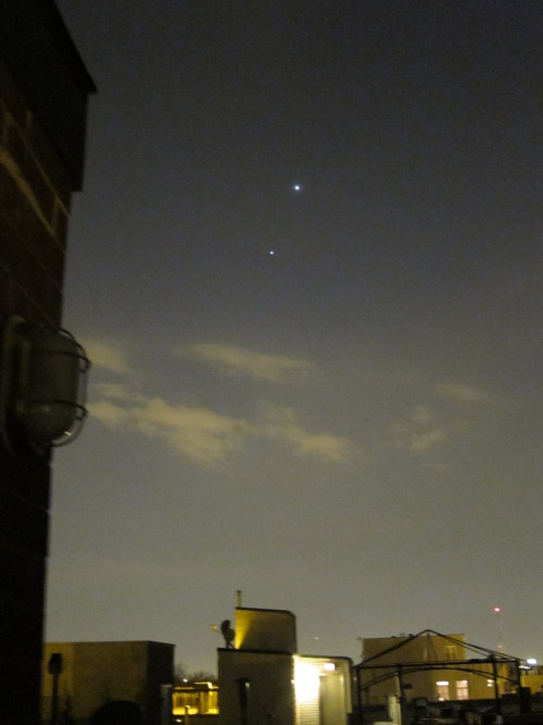 Venus and Jupiter in the western sky yesterday evening.