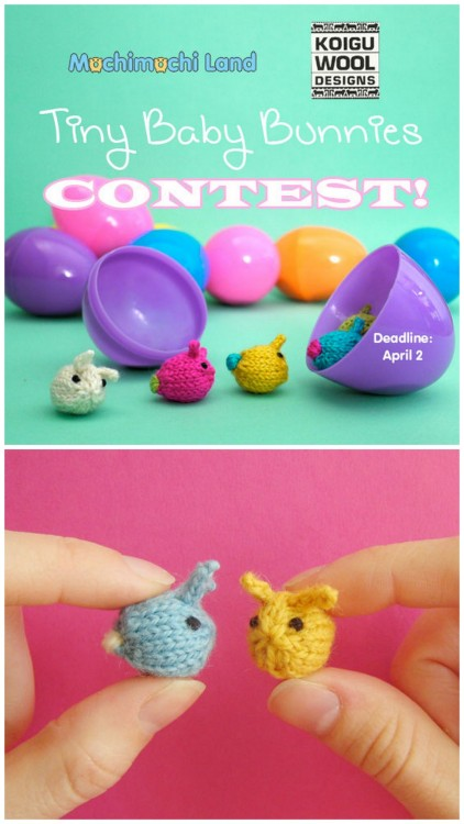 "truebluemeandyou:  DIY Free Pattern for Knitted Tiny Baby Bunnies from Mochimochi Land here. There is also a contest involving the bunnies ending April 2, 2012 here:  Contest from Mochimochi Land ""t's getting to be that time of year when Tiny Baby Bunnies multiply and melt the world with cuteness! We want to see your cutest, cleverest, and most creative uses of the Tiny Baby Bunnies, a free pattern from Mochimochi Land.""   BRB making a million of these."