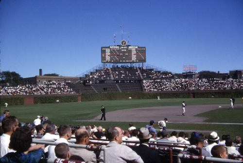 nprfreshair:  calumet412:  Center field at Wrigley on game day, c.1962, Chicago.  It is spring.