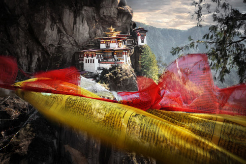 Tigers Nest and Prayer Flags by dvlazar on Flickr.
