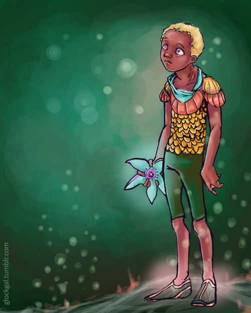 [image: art by glockgal.  Kaldur'ahn as a child, floating by the sea floor, holding a starfish toy. He looks anxious.] why did I draw this? ~wibble~
