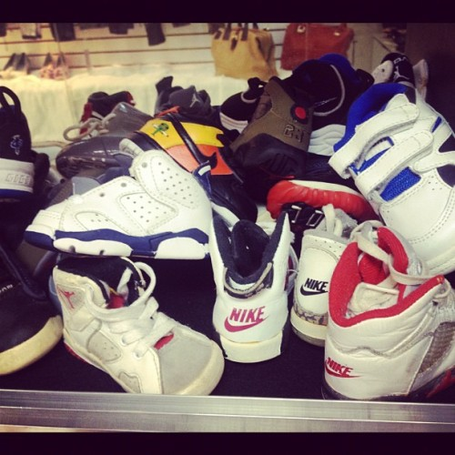 image-ny:  vintage baby shoes! #imageny #airjordan #nike #vintage #og #vtg #s7 #baby #lagear #yeezy #original #galaxy #foamposite #penny (Taken with Instagram at IMAGE Sneaker / Clothing Consignment Shop)