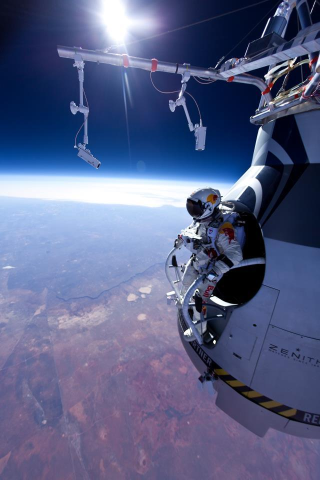 On March 15 at 8:10am local time, Felix Baumgartner and the Red Bull Stratos team successfully completed the project's first manned test flight at Roswell, New Mexico. After the capsule was lifted by a helium balloon to an altitude of 21,818 metres, Baumgartner started a freefall that lasted 3 minutes and 33 seconds before reaching the optimum height of 2,405m to deploy his parachute and float safely back to Earth…  video here. Independent space flight is getting pretty impressive. (also you would have to give me A LOT of Red Bull to do this…)