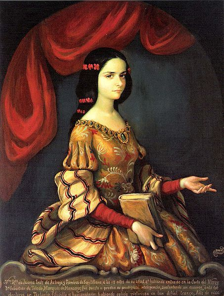 "fuckyeahhistorycrushes:  This beautiful young lady is Juana Inés de Asbaje y Ramírez de Santillana (1651-1695), or as she would later become known, Sor Juana Inés de la Cruz. And she was a badass. The woman at whom you are daring to look was a kickass feminist (and possibly lesbian) writer, poet, and nun. That's right, nun - drop your stereotypes, because she doesn't fit in any of your shoeboxes.A self-taught scholar, she had to overcome all odds to become the boss whom she inarguably is known as today. The illegitimate child of a Spanish captain and a Criollo woman, she grew up the daughter of a single mother in a society that frowned upon women doing much other than existing quietly. Juana was a devout child who would steal away to read her grandfather's books, although girls were forbidden from doing so, and learned to read and write in various languages at very young ages. She attempted to disguise herself as a male student to enter university in Mexico City at age 16, but was found out and made to continue her studies privately under the Vicereine Leonor Carreto. Leonor's husband, the Viceroy Antonio Sebastián de Toledo, doubted the teenage Juana's supposed intelligence, so he invited theologians, lawyers, philosophers, and poets to test her education. She stunned them all with her bright, articulate presence, and her reputation became known quickly throughout New Spain (as Mexico was then called). Her literary and poetic accomplishments, in addition to her beauty, made her a famous member of the viceregal court, where she declined several proposals of marriage. She shocked the court when she entered the Convent of the Discalced Carmelites of St. Joseph as a postulant in 1667. In 1669, she entered the Convent of the Order of St. Jérôme. Far from becoming the silent, obedient stereotype of the Catholic woman religious, her writings became even more strident and firm. In response to her critics, Juana penned the Respuesta a Sor Filotea (Reply to Sister Philothea) in which she defended a woman's right to education. The Catholic hierarchy and other prominent male officials condemned and censored her work in view of its ""waywardness,"" forcing her to do public penance. Juana's pen fell curiously silent, as the Church published penitential documents to which her name had been affixed. Since she had been silenced by the outside world, Juana instead turned to other forms of service, including her ministry to her fellow nuns who were stricken by the plague. The doctor became a patient as Juana herself fell victim to this plague in 1695. So let's recap: Juana taught herself literacy and languages when women's education was practically nonexistent, wrote homoerotic love poetry when homosexuality probably could have gotten her killed, and published anti-hierarchical feminist works from a colonial era convent. If you aren't thoroughly impressed into having a history crush on her, at least admit she's freaking gorgeous, too."
