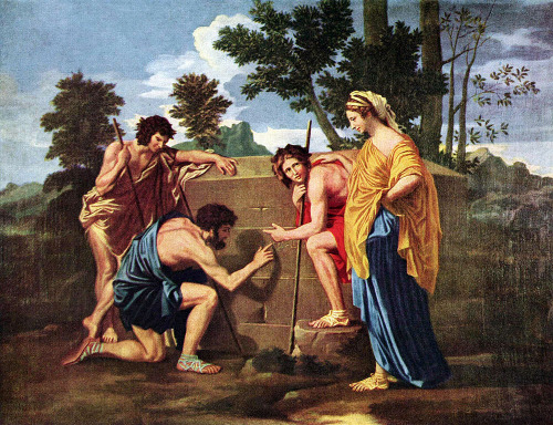 "noxious-naussica:  *Et in Arcadia ego - by Nicolas Poussin *""Et in Arcadia ego"" translates to ""Even in Arcadia I am there"" (meaning there is death even in paradise)"