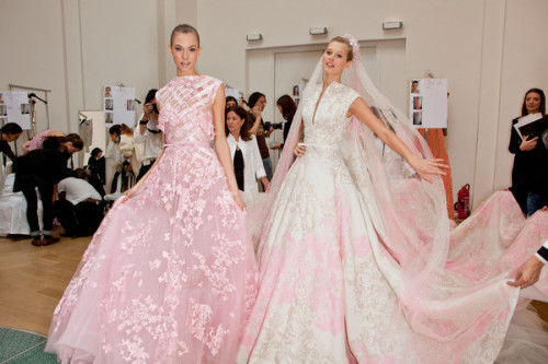 THe dress on the left would be my wedding dress if my fiancee didnt want something more form fitting. How beautiful is that gown!