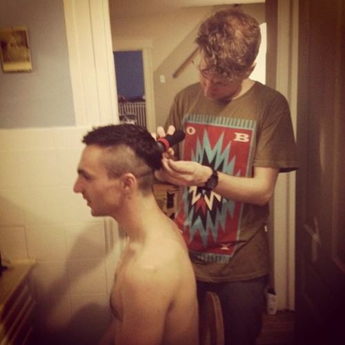@majicalcloudz gettin' his haircut by yours truly.
