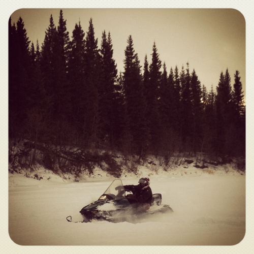 #snowmobiling on the #northsaskatchewanriver #Alberta