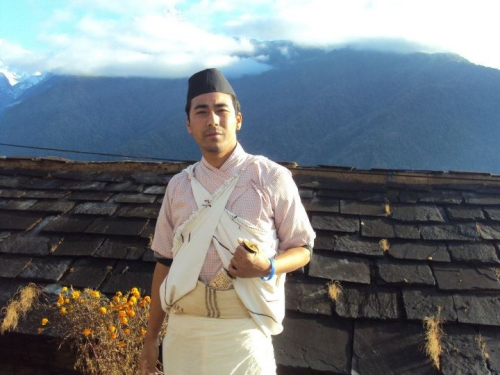 @Ghandruk Village wearing traditional Gurung dress