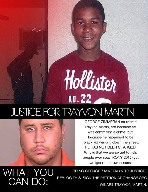 theculturecollective:  JUSTICE FOR TRAYVON MARTIN. THERE WERE POSTERS FOR KONY 2012, PUT UP POSTERS FOR TRAYVON MARTIN AND GET THE WORD OUT. SIGN THIS: http://www.change.org/petitions/prosecute-the-killer-of-17-year-old-trayvon-martin