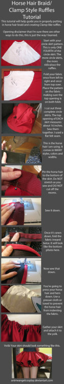cosplaytutorial:  Tutorial-Putting in Horse Hair Braid/CLAMP Ruffles - http://animeangelcosplay.deviantart.com/art/Tutorial-Putting-in-Horse-Hair-Braid-CLAMP-Ruffles-288848575