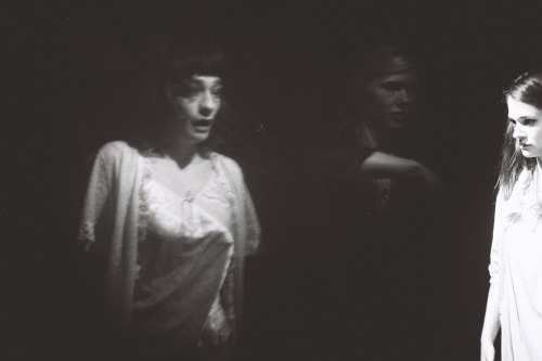 "From Guy Maddin's SPIRITISMES. Elina Löwensohn, Kim Morgan and Victoire du Bois in ""Hello Pop!"" Lost Jack Cummings short (USA, 1933) Photo by Cecile Grâce Janvier."