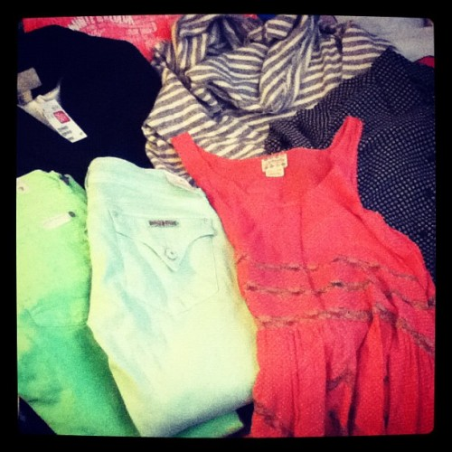 This week's fashion haul courtesy of #FreePeople #7ForAllMankind #Hudson #Forever21 and #H&M. (Taken with instagram)