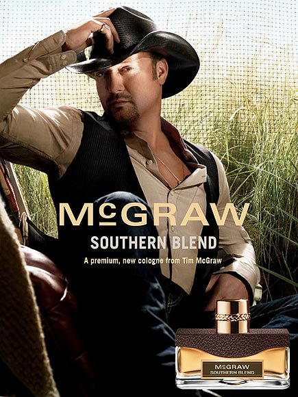 Tim McGraw posing for his cologne scent, southern blend