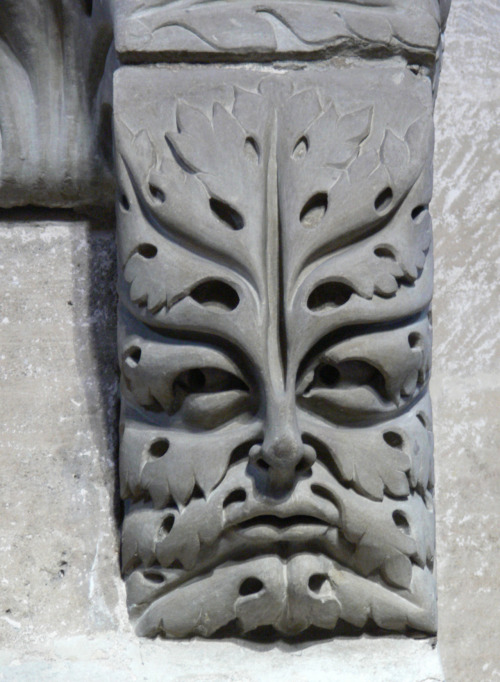 Green Man with Acanthus, an architectural corbel supporting the Bamberg Horseman, Bamberg Cathedral, Germany. Early 13th Century.
