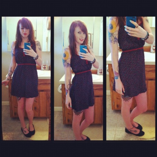 meghanszebrapigs:  #ootd #spring #redhead #tattoo #tattoos #tattoo #dress (Taken with instagram)