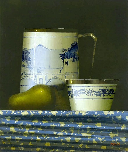 Martin Mooney Pear on Blue and Cream Cloth 21st century