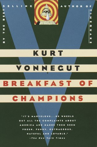 "# 37: Kurt Vonnegut, Breakfast of Champions This has quickly become one of my favorites. The story focuses mainly on two characters, whom Vonnegut describes as ""two lonesome, skinny, fairly old white men on a planet which was dying fast""—Kilgore Trout and Dwayne Hoover. A science fiction and a Pontiac dealer, respectively, both men appear to be alter egos of the author, who worked as a Saab dealer before becoming an acclaimed author. After providing extensive background information on both of the characters, Vonnegut sets them on a collision path as Trout makes his way to Midland City, the fictional city where Hoover resides, while Hoover's mental state is rapidly deteriorating. Their meeting at the end of the novel can be best described as disastrous. The novel takes upon itself to introduce certain aspects of life in the US and the planet to his readers, and frequently does so with the aid of illustrations—which are both hilarious and welcome, since very few ""Adult"" books come with illustrations.  My favorite aspect of the novel, however, was the introduction of the author/narrator. Trout is said to be collecting information for his ""Creator"" but little does he know that the Creator would be appearing minutes before his own encounter with Hoover. The Creator explains his control over the characters and explains why he is doing things as he does them but confesses that the characters are not fully under his control. I loved this because I felt like it was the author's way of showing that characters have a way of taking lives of their own and surprising the authors. Vonnegut's ability to take note of the mundane and make it fascinating makes this book a great read."