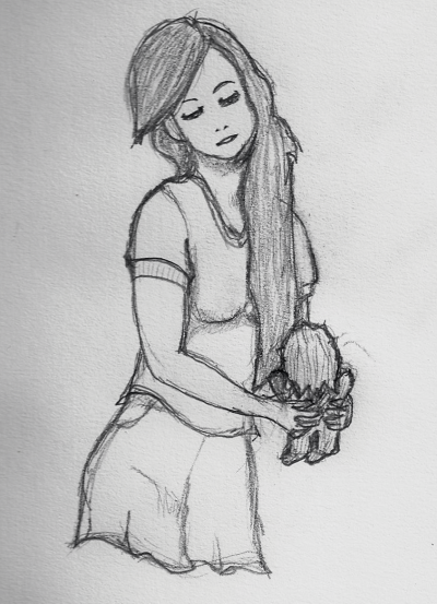 Sketchy Sunday - Girl with Stuffed Chewie Doll This past week was pretty crazy so I didn't really have the time I wanted to work on my art. I did sketch this today, so I figure I'm going to try to sketch something every Sunday, using old fashion pencil and paper, and maybe digitize it during the week. So here's the first one, a girl holding a stuffed Chewbacca (which I actually have, the stuffed animal not the girl).