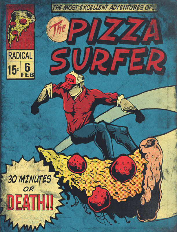 assorted-goodness:  Pizza Surfer - by Austin Pardun Prints available at Society6