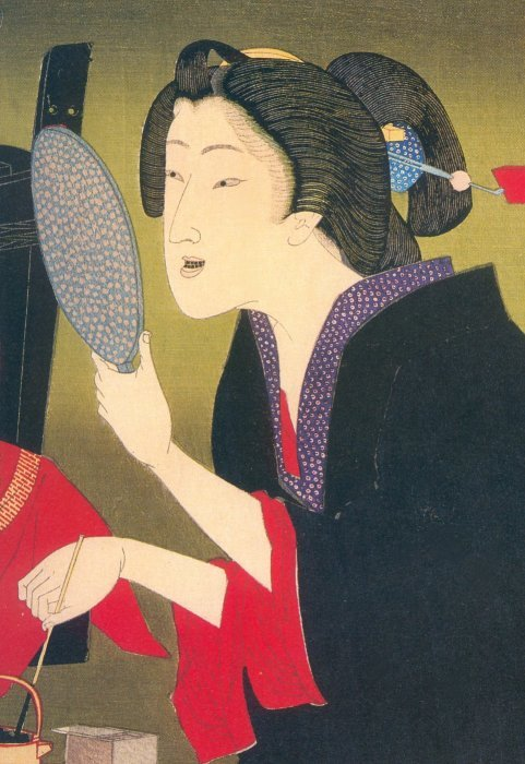 "OHAGURO: Tooth blackening: An ancient practice going back to the Heian period, i.e., 9th century,  whereby women mainly stained their teeth black. The dye was made from a mixture of oxidized ""…iron shavings melted in vinegar and powdered gallnuts."" During the Muromachi period (1336-1568) this practice gained popularity among the lower classes and ""…was done from the age of puberty. In the Edo period (1603-1868), married women were required to dye their teeth black.""   (Quoted from: Dictionary of Japanese Culture by Setsuko Kojima and Gene A. Crane, p. 253.)  (Maiko Konomi with Ohaguro; Image from geisha-licious) The powder was often applied using a split-bamboo toothbrush.   John Stevenson in Yoshitoshi's Women: The Woodblock Print Series ""Fuzoku Sanjuniso"" (Avery Press, 1986, p. 34) notes: ""Blackened teeth were considered beautiful, possibly because teeth were a visible part of the skeleton, which as a symbol of death was unclean. Though teeth-blackening was the special mark of married women, courtesans also used it as a sign of adulthood. It formed part of the ceremony held for the debut of a trainee courtesan when she became a shinzo at the age of about fourteen.""   In The World of the Shining Prince: Court Life in Ancient Japan (pp. 203-4) Ivan Morris discusses several of standards used to judge beauty such as pale skin. The higher the rank the whiter the skin color had to be even if that meant applying layers of powder. ""Heian women observed two customs that, attractive as they no doubt were to the gentlemen of the time, would hardly add to their appeal for Western men, or indeed for most modern Japanese. They plucked their eyebrows and then carefully painted in a curious blot-like set, either in the same place or about an inch above. They also went to the greatest trouble to blacken their teeth with a type of dye usually made by soaking iron and powdered gallnut in vinegar or tea. During later centuries this bizarre custom spread throughout the country and came to denote a woman's married status; in Heian times it was restricted t the upper classes, but not to married women."" Morris added a reference about the eccentric heroine of ""The Lady Who Loved Insects"". She refused to shave her eyebrows or blacken her teeth and this disgusted both her attendants and a potential suitor. ""'Ugh!' said one of her maids. 'Those eyebrows of hers! Like hairy caterpillars, aren't they. And her teeth! They look just like peeled caterpillars.' A certain Captain of the Guards, who has been interested in the girl, is put off by her dark, thick eyebrows, which give her face an unpleasing boldness, and particularly by her unblackened teeth, which gleam horribly when she smiles.'"" (p. 204) In a footnote Morris notes that during the Han dynasty in China women plucked or shaved their eyebrows. However, tooth blackening appears to have been practiced only in Japan. Van Gulik argued that this fashion statement may have originated in the South Seas. In a second footnote Morris states: ""In the Tokugawa period, courtesans, who were know as 'brides of the night', also blackened their teeth."" In the Safflower chapter of The Tale of Genji the prince has returned to ""His young Murasaki…. In deference to her grandmother's old-fashioned manners her teeth hand not yet received any blacking, but he had had her made up, and the sharp line of her [applied] eyebrows was very attractive."" (Quote from: The Tale of Genji, by Murasaki Shikibu, translated by Royall Tyler, Viking Press, 2001, vol. 1, p. 130.) The mixture used for tooth blackening was referred to as hagurome (歯黒め or  はぐろめ). In Act 2: Scene 3 of the Tokaido Yotsuy kaidan Oiwa looks in the mirror and sees the results of the poison which her husband has given her. Despite her horrific disfigurement she prepares to go out. ""Bring me my tooth blackening"" she demands. Takuetsu, a masseur in the employ of her husband, argues against this: ""But you are still sick and weak. You've just given birth. It's not safe for you to go out."" She insists. Then it is noted that ""She rinses her mouth, wipes her teeth dry, and then sits down in the center of the room. She rinses her mouth, wipes her teeth dry, and then applies the blackening…. She messily covers the corners of her mouth, which makes it look as though her mouth is monstrously wide."" (Source and quotes from: Traditional Japanese Theater: An Anthology of Plays, edited by Karen Brazell, translation and commentary by Mark Oshima, Columbia University Press, 1998, p. 477.) Staining the teeth is not unique to the Japanese. In The Kama Sutra of Vatsayayana by Sir Richard Burton women are praised for having good teeth capable of being stained - a positive cosmetic feature. Tattooing is also mentioned.  In A Brief History of the Smile by Angus Trumble (published by Basic Books in 2004, pp. 63-5) notes that the Achual tribe of the Amazon basin still practice tooth staining their teeth. About the Japanese practice Trumble says: ""According to one school of thought, ohaguro originated in the Buddhist idea that white teeth reveal the animal nature of men and women and that the civilized person should conceal them, if by no other means than beneath a coating of black dye."" Or, the author speculates, that the samurai class had their wives and daughters stain their teeth black to make them less desirable for rape or abduction. Trumble adds ""That many sources agree that the practice was also thought to protect against tooth decay…"" ""Well before the twelfth century, tooth-blackening marked a girl's coming of age. So did okimayu [置眉 or  おきまゆ], the practice of shaving off her eyebrows and substituting painted ones…"" Even some early noblemen and samurai began blackening their teeth. ""One warrior, upon removing the helmet of a slain nobleman, found his ooponent to be a boy of sixteen, his face powdered, his teeth elegantly blackened."" Later it was only women, again, who stained their teeth intentionally. By the 18th century it was almost universal. By the 19th it came to be used only by married women. Basil Hall Chamberlain gives a recipe for tooth blackening in his Things Japanese (pp. 63-64) quotes A. B. Mitford from his Tales of Old Japan who in turn was quoting an Edo druggist: ""Take three pints of water, and, having warmed it, add half a teacup full of wine [i.e., sake]. Put into this mixture a quantity of red-hot iron; allow it to stand for five or six days, when there will be a scum on top of the mixture, which then should be poured into a small teacup and placed near a fire. When it is warm, powdered gall-nuts and iron filings should be added to it, and the whole should be warmed again. The liquid is then painted on to the teeth by means of a soft feather brush, with more powdered gall-nuts and iron, and after several applications, the desired colour will be obtained."" Wang Bao (王褒), a 1st century B.C. Chinese author, ""… writes that there are countries whose people braid their hair, scar their faces, [and] blacken their teeth…"" Wang was not writing about the Japanese, but about others from extreme southern China and  from Southeast Asia. It is known that tooth blackening was a common cultural practice among many different groups and was even common on certain Pacific islands. This proves how old tooth blackening is. Perhaps the Japanese were also aware of such practices. (Quote from: Tattoo in Early China, by Carrie Reed, Journal of the American Oriental Society, vol. 120, No. 3, Jul. - Sep. 2000, p. 363.)"