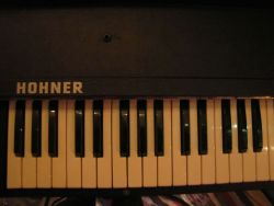 Hohner Pianet T… poor man's Rhodes. Tour-ready, but loving the studio right now.