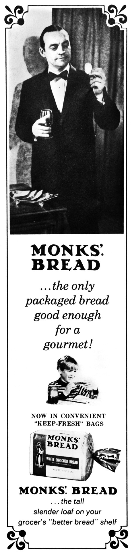 Monks' Bread Advertisement - Gourmet: March 1970