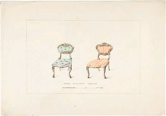 butt3rflycollector:  bassington:  Design for Drawing Room Chairs, Louis Quinze Style, Robert William Hume, 1835-1900.