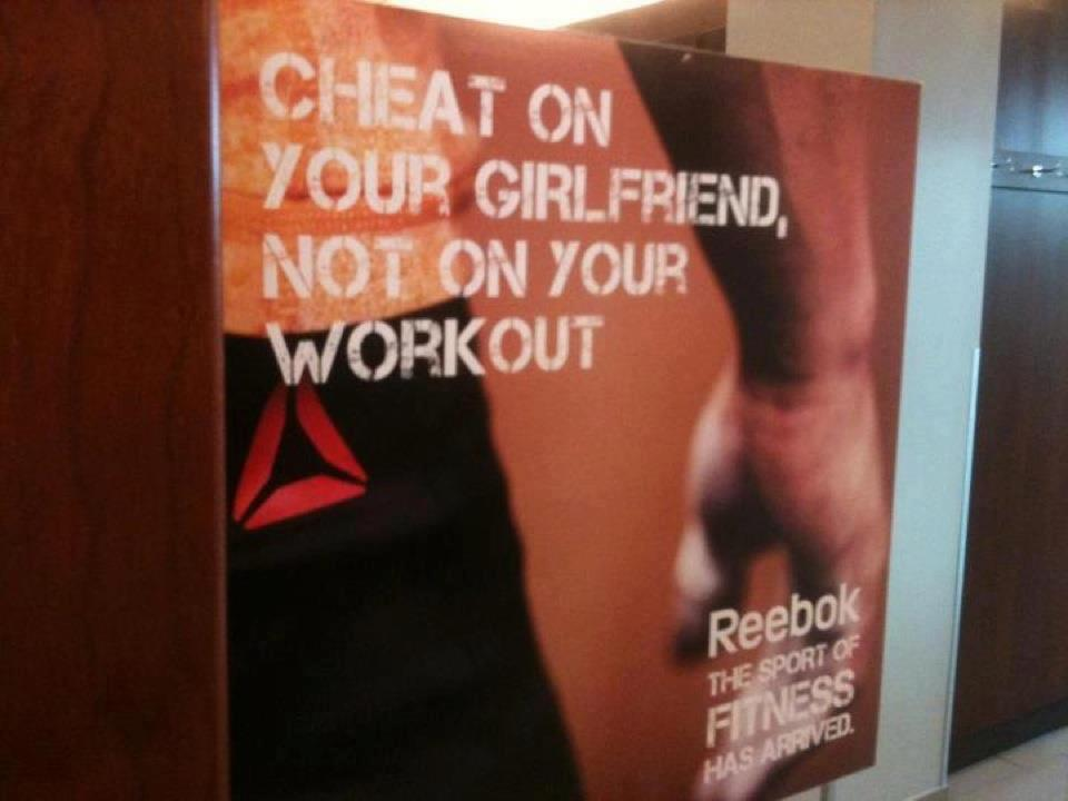 schala:  annieelainey:  LOL, I GET IT, REEBOK, BECAUSE YOUR WORK OUT IS MORE IMPORTANT THAN YOUR GIRLFRIEND BECAUSE SHE IS NOT A HUMAN BEING WITH FEELINGS OR ANYTHING, SURE!  is this a real ad ughh why