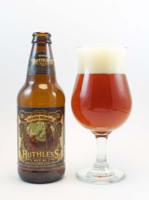 "Sierra Nevada ""Ruthless""  88 B+    This rye IPA pours a beautiful, sudsy, creamy head. The retention is acceptable, keeping a strong head that's weak in comparison to the opening height. Lacing is of fine bubbled patches that clings nicely to the glass. Pretty nice.  The aroma is actually quite light. It's got the standard Sierra Nevada hop aroma of pine, citrus, and in this case an earthy rye grain. It's subdued, with layering that's just too tough to pick out. Quite disappointing in this area. Flavor is also the standard Sierra hop bill, though not near as aggressive as Torpedo. It's definitely packed with a considerable amount of hop resins, though not so much that it overrides the rye, or has a mouth coating, palate wrecking effect. Rye adds a nice spicy, grainy quality, though more subdued than I had hoped. Sort of a black pepper addition on the palate. It fades quicker than I had hoped, despite the hop oils. Very nicely balanced malt/hop ratio. The mouth feel is ultra creamy and perfectly carbonated.  It seems they're using the same hop bill as the rest of their IPA's, but I can't confirm that because they're very secretive of their recipes. If you've had the Sierra Nevada lineup, you'll know what I mean. Regardless of the light use of rye, it's a noticeable change up on the typical IPA, and this one that'll be nice to have around (especially in my neck of the woods). It's definitely worth trying  to see what the rye craze is all about. Hops: Bravo, Chinook, Citra, and ""experimental"" hops Malts: pale, rye, caramel, chocolate  6.6% 55 IBU Chico, California"