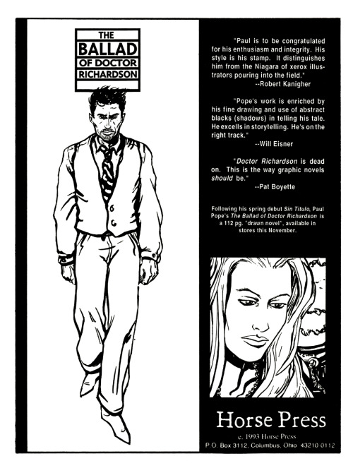 Promotional ad for The Ballad of Doctor Richardson by Paul Pope, 1993.