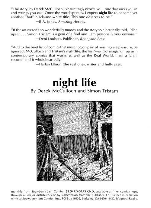 Promotional ad for Night Life by Derek McCulloch and Simon Tristam, 1987.