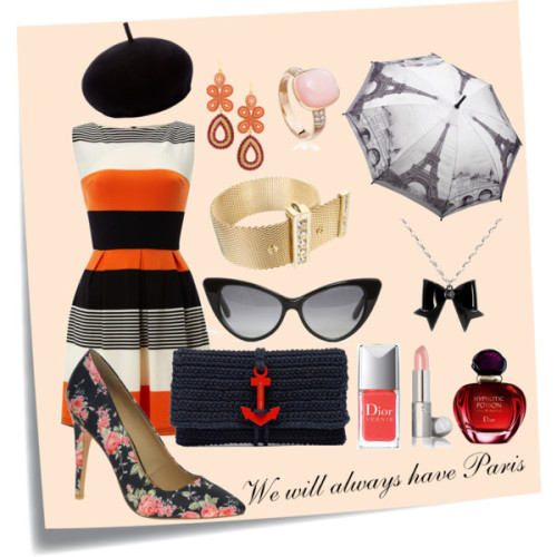 We will always have Paris by brunafp featuring tom ford sunglassesAX Paris striped dress, £22ASOS high heels, $39Balenciaga black clutch, $745Opal ring, $2,335CA LOU couture jewelry, €455Stella & Dot chandelier earrings, $49Tom ford sunglasses, $432Henrik Vibskov black beret, £145Mini umbrellaLipstick, $15Christian Dior fragrance, £46Christian Dior nail polish, $23