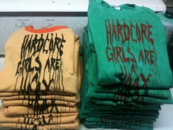 Get yer hXc girls are a hoax t-shirts! Fresh off the screeeeeeen! The come in cremesicle or St. Patty's day leftover acid wash