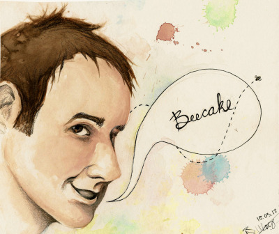 Beecake! A portrait of Billy Boyd.Media: Watercolour, Pencil Crayon, Pen