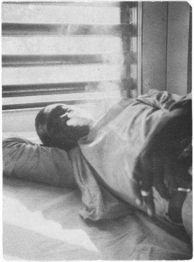 """Lightnin'"" Washington, an African American prisoner, in the prison hospital at Darrington State Farm, Texas  Alan Lomax April 1934 Photographic Print Library of Congress Prints & Photographs"