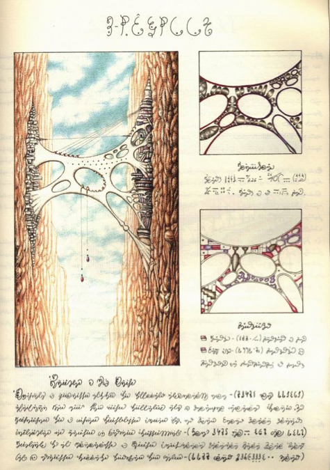 ourcatastrophe:  page from codex seraphinianus depicting a weblike bridge