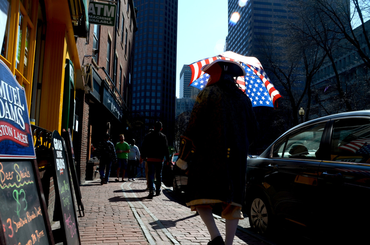 Freedom Trail. Ben Franklin out for a Saint Patrick's Day stroll - Union St. Boston, 3/18/2012