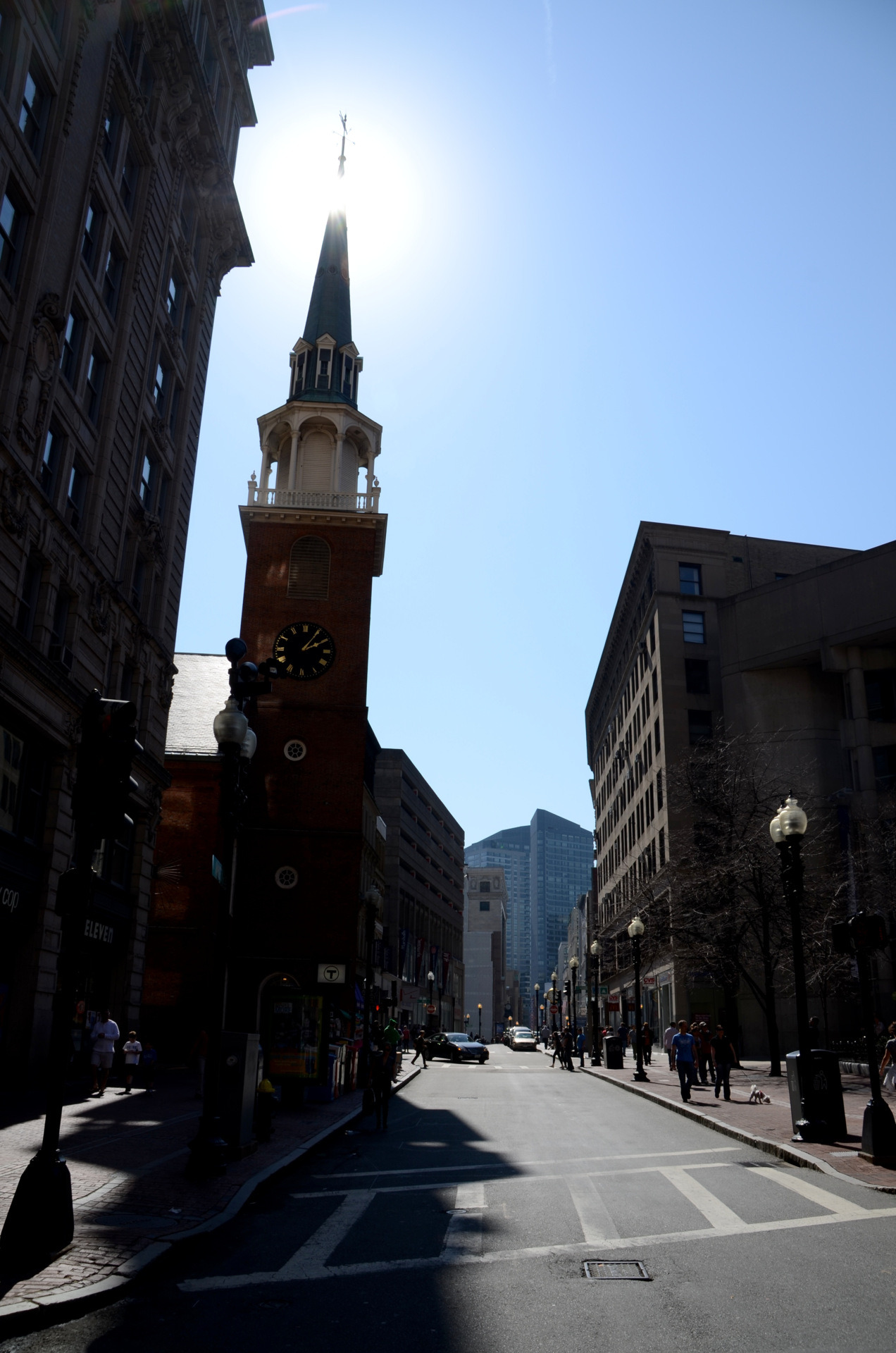 "Old South Meeting House. A National Historic Landmark in Boston renowned for the protest meetings that were held there during the 1770's. The building served as a ""platform for the free expression of ideas"" leading up to the American Revolution. Strange to think of it now almost 250 years later, surrounded by high rise office buildings and corporate retail… Photo from Saint Patty's Day weekend, 3/18/2012"